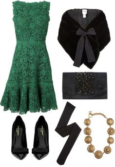 Adorable!!Opal & Violet: green lace dress, fur capelet, vintage gold chanel necklace