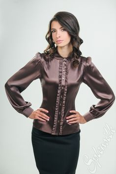 Ruffled satin blouse                                                                                                                                                                                 More
