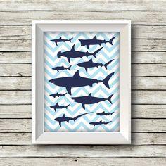 Shark Print - Printable - Nursery Art - Kid's Room Art - Shower Gift -Wall Art  - Customizable