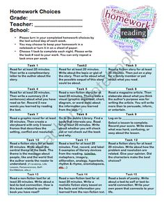 Reading Homework Choice Board  from SHteacher on TeachersNotebook.com -  (1 page)  - A generic homework menu for any intermediate reading class that can be used throughout the school year. The best part is, there is no prep on the teacher and it is differentiated for any reader.