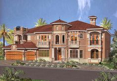 Florida Style House Plans - 6412 Square Foot Home , 2 Story, 7 Bedroom and 7 Bath, 3 Garage Stalls by Monster House Plans - Plan 37-189
