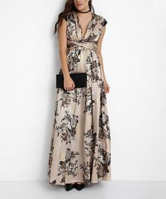 Look what I found on #zulily! Black & Tan Floral Cap Sleeve Gown #zulilyfinds