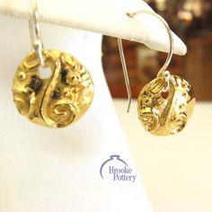 14k gold vermeil Scroll Disc earrings,$63