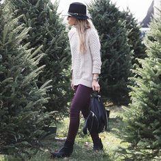 Purple Leggings, Purple Pants, Winter Wear, Autumn Winter Fashion, Oxblood Jeans, Happily Grey, Beige Sweater, Sweater Hat, Cream Sweater
