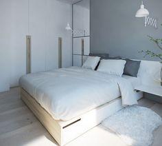 couleur de peinture pour chambre gris perle, penderie design blanc neige, lit bas en bois massif, tapis fausse fourrure et parquet contrecollé