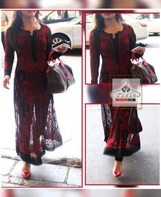 Black /Red Lucknowi Chikan Anarkali Dress Fabric details: Anarkali - Georgette With Chikan Work (Stitched - Upto chest size Bottom-Shantoon(Unstitched) Dupatta - Black Cotton Indian Fashion Dresses, Dress Indian Style, Indian Designer Outfits, Summer Fashion Outfits, Indian Outfits, Stylish Dress Designs, Stylish Dresses, Kurta Patterns, Pakistani Formal Dresses