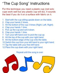 """Instructions for the Cup Song -- I think this is the song from """"Pitch Perfect"""" -- so fun! Cup Song, Music Games, Rhythm Games, 6 Music, Piano Music, Thinking Day, Music Classroom, Classroom Ideas, Pitch Perfect"""