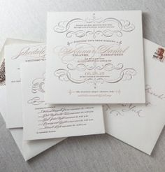 We love the look of these vintage-inspired letterpress invitations by Dauphine Press!