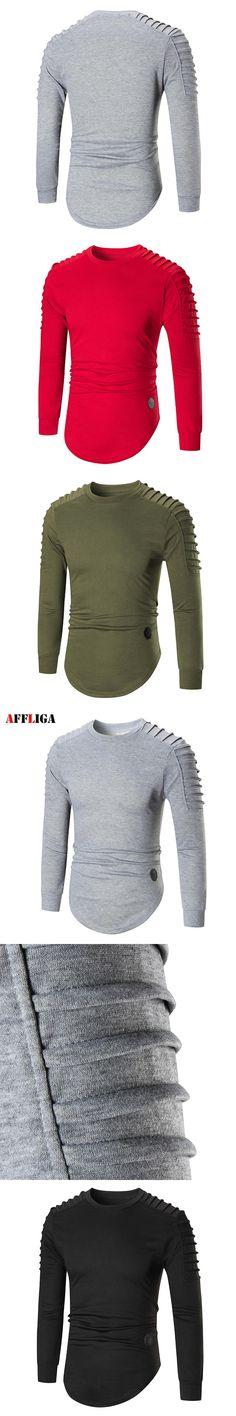 New Autumn Winter Men Hoodies O-neck Hoody Sweatshirt Male New Fold Shoulder Design Men Fashion Pullover Tracksuit Mens Tops