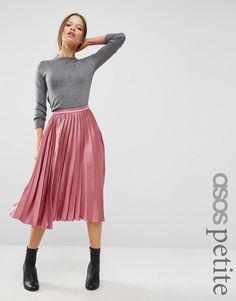 ASOS+PETITE+Satin+Pleated+Midi+Skirt