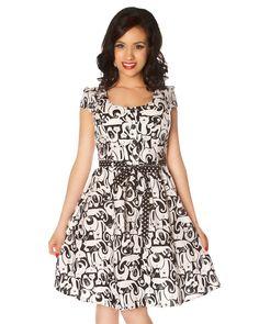 polka cats retro dress, cats vintage dress, cats rockabilly dress