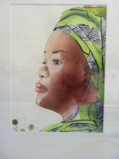 Leçon d'aquarelle, portrait de la présidente du Libéria, j'ai raté l'oreille!