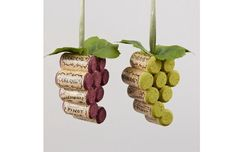 Something to do with all  my corks!   2 Tuscan Winery Burgundy and Green Wine Cork Grape Bunches Christmas Ornaments