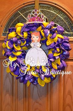 Sofia the First balloon wreath. So easy to make. Secure balloons to wreath with floral pins.