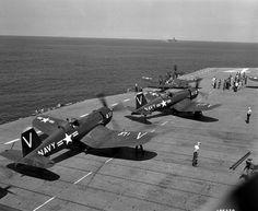 Beautiful Warbirds — Corsairs on deck.
