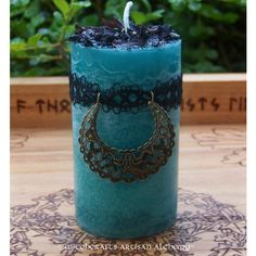 MORGAINE Witch of Avalon Pillar Candle w/ Filigree Moon Crescent,... ($20) ❤ liked on Polyvore featuring home and home decor