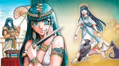 Anime Egyptian, Egyptian Queen, Princess Art, Princess Zelda, Medieval Clothing, Medieval Outfits, Blue Green Hair, Anubis, Geek Art
