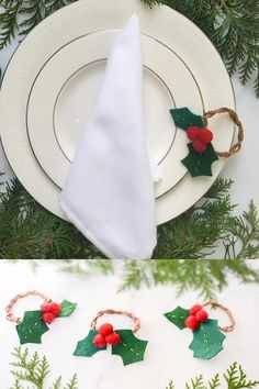 These felt holly Christmas napkin rings are easy to make, and make a great DIY gift! Diy Christmas Napkins, Christmas Napkin Rings, Christmas Crafts To Make, Christmas Tablescapes, Christmas Table Decorations, Simple Christmas, Holly Christmas, Diy Napkin Rings, Christmas Gift Videos