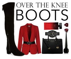 """Untitled #186"" by ayechic on Polyvore featuring MICHAEL Michael Kors, Nine West, Augustine Jewels, Christian Louboutin, Elizabeth Arden, michaelkors, blackandred and OverTheKneeBoots"