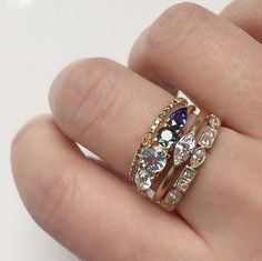 Vale Jewelry Harmony Ring stacked with our Mélange eternity band, Françoise Ring and Morse Ring