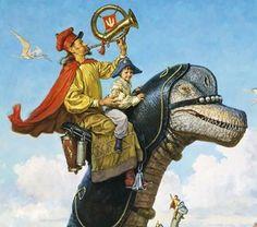 Braquiossauro e Corneteiro Os Dinossauros e o Mundo Fantástico de James Gurney