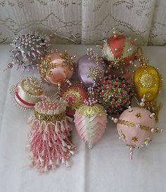 Vintage Beaded Satin Ball Christmas Ornament Lot of 11~Pink Tea Ball~