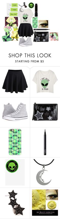 """""""Peridot- Steven Universe Outfit"""" by abbi-jule ❤ liked on Polyvore featuring WithChic, Converse, Miss Selfridge, Casetify, NARS Cosmetics, Carolina Glamour Collection, Alinka and MAC Cosmetics"""
