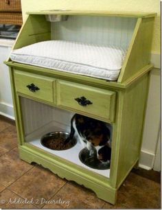 This is another incredible design. The bowls for feeding are kept below and a nice soft sleeping quarters is on top. From Addicted 2 Decorating, the cats will love this. #cats #storage #diy #homedecor #hacks #pets