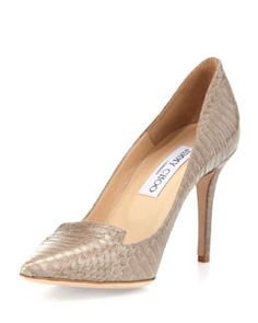X225D Jimmy Choo Alia Snakeskin Pump, Pebble