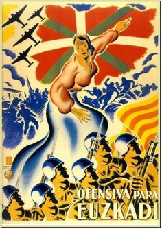 Spanish Civil War poster enlisting Catalan support for the offensive in Euskadi (the Basque Country)