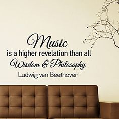 Music Wall Decals Quotes Vinyl Lettering Music Is A Higher Revelation Than All Wisdom And Philosophy Beethoven Quote Living Room Decor Q009 #walldecals #lettering #vinylstickers #quotes http://www.amazon.com/dp/B00WIGIYI4/ref=cm_sw_r_pi_dp_wbHtvb1NY96GY