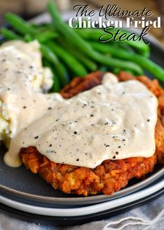 The Ultimate Chicken Fried Steak is fried to golden perfection and topped with the creamiest gravy you can imagine. It's hard to imagine a more quintessential Southern meal than Chicken Fried Steak and Gravy. Chicken Recipes Video, Fried Chicken Recipes, Beef Recipes, Cooking Recipes, Cuban Recipes, Recipes With Cube Steak, Chicken Fried Steak Gravy, Chicken Fried Chicken, Recipes