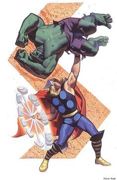 Thor vs. the Hulk by Steve Rude - Best Art Ever (This Week) - 06.07.13