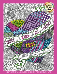 Light Shine Art coloring books provide Christian themes and verses to reflect on as you color them in your own style. Based on Scripture and other inspirational sayings, each page will encourage, inspire, remind, and bless those who follow God and His word. As you and your family color, the inspiring words will be a source of strength while reminding you of the hope we share through our faith in Christ.  The more you buy, the more you save - makes a great fundraiser!