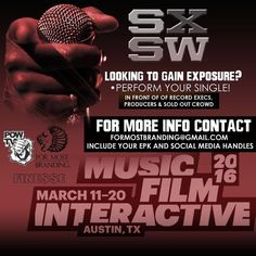 This years #SXSW festival has a wide range of platforms & options for you to gain exposure. There are a few stages that we have collaborated with to bring publicity to you and your brand!  Send me an email including your EPK Social Media Handles Desired Performance Time  #SXSW2016 is about a month away. Don't wait until the last minute to secure your slot.   #SXSW16 #Artists #Indies #NewMusic #Booked #SouthBy #Chevy #Branding #PowTV #ForeverWorking #Austin #MarchMadness #FutureHive #Finesse…