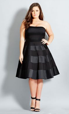 Find City Chic 'Miss Shady' Stripe Strapless Fit & Flare Party Dress (Plus Size) online. Shop the latest collection of City Chic 'Miss Shady' Stripe Strapless Fit & Flare Party Dress (Plus Size) from the popular stores - all in one Curvy Fashion, Look Fashion, Plus Size Fashion, Girl Fashion, Petite Fashion, Ladies Fashion, Dress Fashion, Fashion Ideas, Fashion Trends