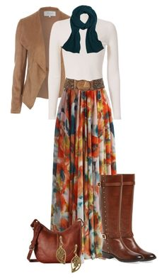 Floral maxi skirt for Fall by elizabethdawes on Polyvore featuring polyvore, fashion, style, A.L.C., Chicwish, Vince Camuto, Frye, 1928, Brooks Brothers, Joe Browns and clothing