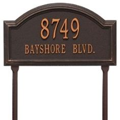 Address Plaque 17 x 9.5 x 1.25 inch Standard Lawn Aluminum- Providence Arch- Two Line