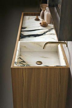 vasque en pierre, vasque à intégrer en marbre dans un embase en bois