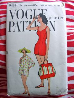 Vogue 9484 1950's swimsuit or playsuit with beach jacket. by anne8865, $80.00