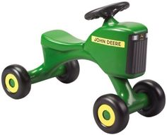 John Deere - Tot Tractor by Learning Curve. $29.99. Narrow seat for easy climbing. Recommended Age Range 1 to 3 Years. Wide base for stability. From the Manufacturer                This rugged plastic tractor features a wide base for great stability. Narrow seat makes it easy for tots to climb on and off. The child provides the footpower, John Deere provides the fun. Recommended for ages 18 months and over. Measures 22 l x 16 h.                                 ...
