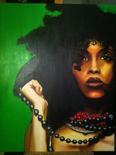 Erykah badu painted by Nathalie Heuts in oil