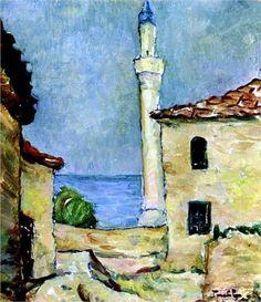 Nicolae Tonitza - Lighthouse in Balchik Lighthouse Art, Post Impressionism, Inspirational Artwork, Art Database, Oil Painting Reproductions, True Art, Art World, Landscape Paintings, Landscapes