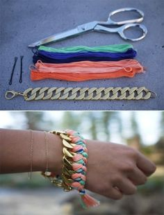 DIY: Chain bracelet and colorful threads