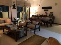 This pic is part of Anuradha Singh's Home Tour at Noida on The Keybunch decor blog - Anuradha's home is soul-refreshing and a beautiful place to recharge & rejuvenate. She believes that her home is ever-evolving in terms of Decor. Indian Living Rooms, Blue Pottery, Safe Haven, Indian Home Decor, My Furniture, Drawing Room, Old Antiques, Decorating Blogs, House Tours