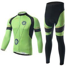 Ophelia Outdoor White and Green Cycling Bike Bicycle Jersey + Pants Set Men / Long Sleeve Fleeced Bib Set / Fleece Winter