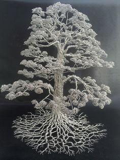 Metallic Sculpture : Dense Wire Tree Sculptures by Clive Maddison - Dear Art Metal Tree Wall Art, Metal Art, Bonsai Wire, Wire Tree Sculpture, Wire Sculptures, Sculpture Art, Tableau Design, Bijoux Fil Aluminium, Tree Wall Decor