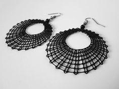 Circle Lace Earrings Handmade Bobbin Lace Jewellery