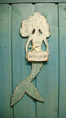 Welcome Mermaid Weathered Wood Beach House Sign by CastawaysHall #food