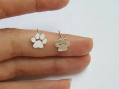 Paw Print Studs, Sterling Silver Ea.. on Luulla